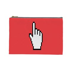 Cursor Index Finger White Red Cosmetic Bag (large)  by Alisyart