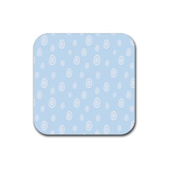 Circle Blue White Rubber Coaster (square)  by Alisyart