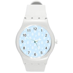 Circle Blue White Round Plastic Sport Watch (m) by Alisyart