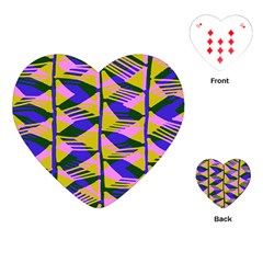 Crazy Zig Zags Blue Yellow Playing Cards (heart)  by Alisyart
