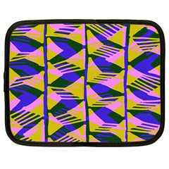 Crazy Zig Zags Blue Yellow Netbook Case (large) by Alisyart