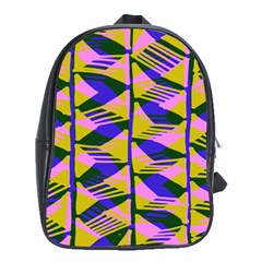 Crazy Zig Zags Blue Yellow School Bags(large)  by Alisyart