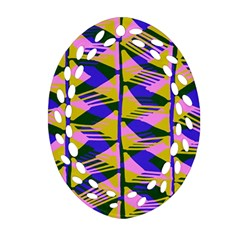 Crazy Zig Zags Blue Yellow Oval Filigree Ornament (two Sides) by Alisyart