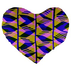 Crazy Zig Zags Blue Yellow Large 19  Premium Heart Shape Cushions by Alisyart