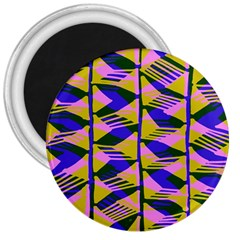 Crazy Zig Zags Blue Yellow 3  Magnets by Alisyart