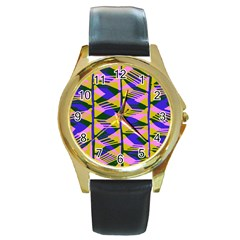 Crazy Zig Zags Blue Yellow Round Gold Metal Watch