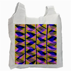 Crazy Zig Zags Blue Yellow Recycle Bag (two Side)  by Alisyart