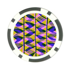 Crazy Zig Zags Blue Yellow Poker Chip Card Guard (10 Pack) by Alisyart