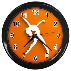 Dance Dancing Orange Girl Wall Clocks (black) by Alisyart