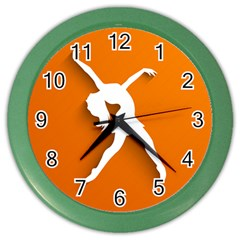 Dance Dancing Orange Girl Color Wall Clocks by Alisyart