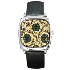Fabrick Batik Brown Blue Green Leaf Flower Floral Square Metal Watch by Alisyart
