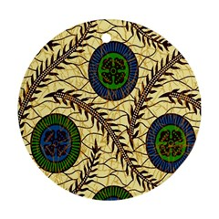 Fabrick Batik Brown Blue Green Leaf Flower Floral Round Ornament (two Sides) by Alisyart