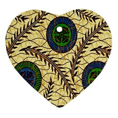 Fabrick Batik Brown Blue Green Leaf Flower Floral Heart Ornament (two Sides) by Alisyart