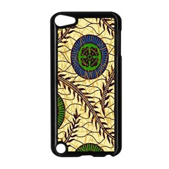 Fabrick Batik Brown Blue Green Leaf Flower Floral Apple Ipod Touch 5 Case (black) by Alisyart