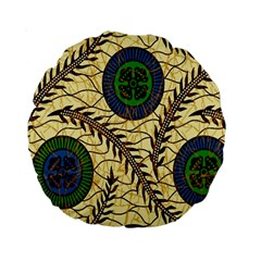 Fabrick Batik Brown Blue Green Leaf Flower Floral Standard 15  Premium Round Cushions by Alisyart