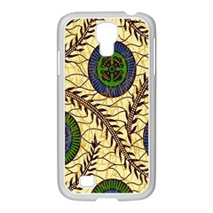 Fabrick Batik Brown Blue Green Leaf Flower Floral Samsung Galaxy S4 I9500/ I9505 Case (white) by Alisyart