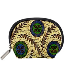 Fabrick Batik Brown Blue Green Leaf Flower Floral Accessory Pouches (small)  by Alisyart
