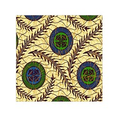 Fabrick Batik Brown Blue Green Leaf Flower Floral Small Satin Scarf (square) by Alisyart