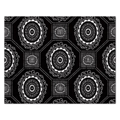 Circle Plaid Black Floral Rectangular Jigsaw Puzzl by Alisyart