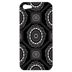 Circle Plaid Black Floral Apple Iphone 5 Hardshell Case by Alisyart