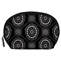 Circle Plaid Black Floral Accessory Pouches (large)  by Alisyart