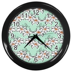 Flower Floral Lilly White Blue Wall Clocks (black) by Alisyart