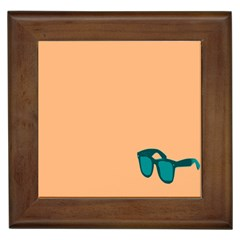 Glasses Blue Orange Framed Tiles by Alisyart
