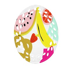 Fruit Watermelon Strawberry Banana Orange Shoes Lime Oval Filigree Ornament (two Sides) by Alisyart