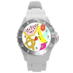 Fruit Watermelon Strawberry Banana Orange Shoes Lime Round Plastic Sport Watch (l) by Alisyart