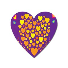 Heart Love Valentine Purple Orange Yellow Star Heart Magnet by Alisyart