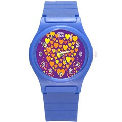 Heart Love Valentine Purple Orange Yellow Star Round Plastic Sport Watch (s) by Alisyart