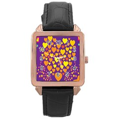 Heart Love Valentine Purple Orange Yellow Star Rose Gold Leather Watch  by Alisyart