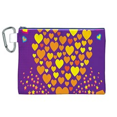 Heart Love Valentine Purple Orange Yellow Star Canvas Cosmetic Bag (xl) by Alisyart