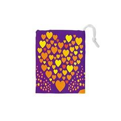 Heart Love Valentine Purple Orange Yellow Star Drawstring Pouches (xs)  by Alisyart