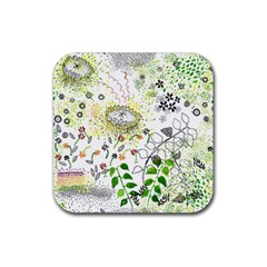 Flower Flowar Sunflower Rose Leaf Green Yellow Picture Rubber Square Coaster (4 Pack)  by Alisyart