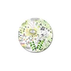 Flower Flowar Sunflower Rose Leaf Green Yellow Picture Golf Ball Marker (10 Pack) by Alisyart