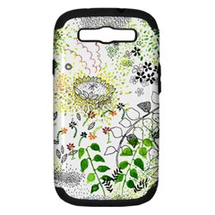 Flower Flowar Sunflower Rose Leaf Green Yellow Picture Samsung Galaxy S Iii Hardshell Case (pc+silicone) by Alisyart