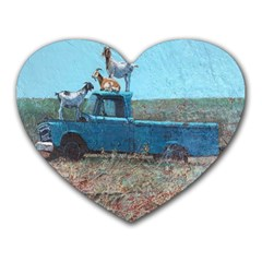 Goats On A Pickup Truck Heart Mousepads by theunrulyartist