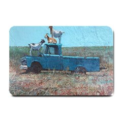 Goats On A Pickup Truck Small Doormat  by theunrulyartist