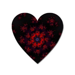 Fractal Abstract Blossom Bloom Red Heart Magnet by Amaryn4rt