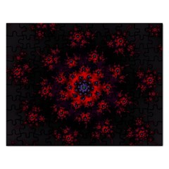 Fractal Abstract Blossom Bloom Red Rectangular Jigsaw Puzzl by Amaryn4rt
