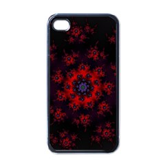 Fractal Abstract Blossom Bloom Red Apple Iphone 4 Case (black) by Amaryn4rt