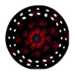 Fractal Abstract Blossom Bloom Red Round Filigree Ornament (two Sides) by Amaryn4rt
