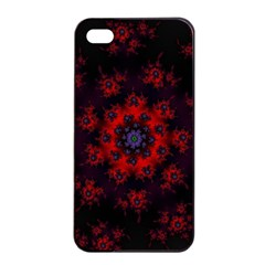 Fractal Abstract Blossom Bloom Red Apple Iphone 4/4s Seamless Case (black) by Amaryn4rt