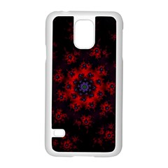 Fractal Abstract Blossom Bloom Red Samsung Galaxy S5 Case (white) by Amaryn4rt