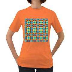 Pop Art Abstract Design Pattern Women s Dark T Shirt
