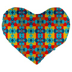 Pop Art Abstract Design Pattern Large 19  Premium Heart Shape Cushions by Amaryn4rt