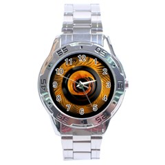 Fractal Mathematics Abstract Stainless Steel Analogue Watch by Amaryn4rt
