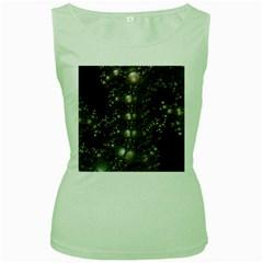 Fractal Math Geometry Backdrop Women s Green Tank Top by Amaryn4rt