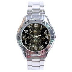 Fractal Math Geometry Backdrop Stainless Steel Analogue Watch by Amaryn4rt